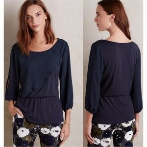 Anthropologie Deletta Alee Ruffle Navy Blouse, S